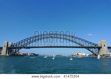 The famous Harbour bridge and Opera House in Sydney, Australia.