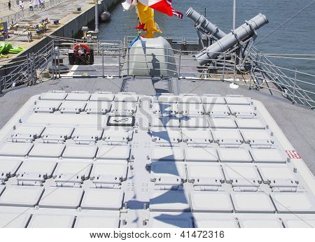 Tomahawk cruise missile and  Harpoon cruise missile launchers on the deck of US Navy destroyer