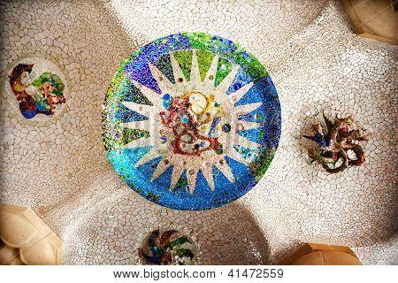 Antoni Gaudi Ceramic Mosaic Design, Guell Park, Barcelona, Catalonia, Spain