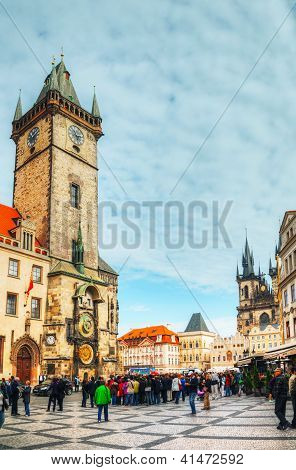Old Town Square With Tourists In Prague