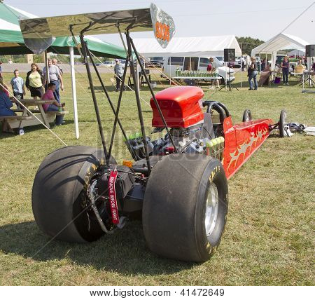 Red Drag Racer Rear View