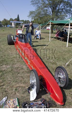 Red Drag Racer Front View