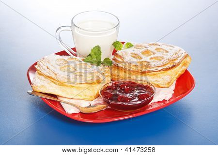 Breakfast: Two Sour Cherry Cakes, Milk And Jam On Plate