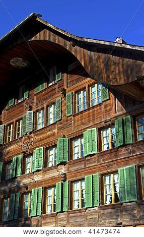 Facade with windows of a Swiss farmhouse