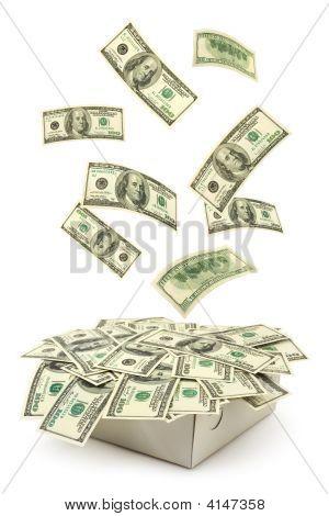 Caixa e dinheiro caindo