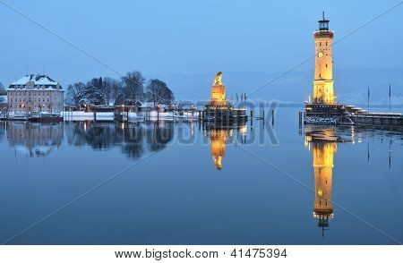 Twilight on Lindau harbor in winter
