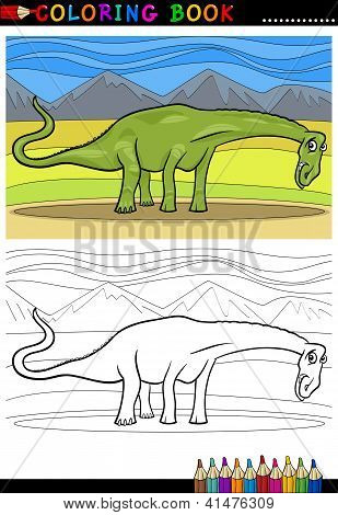 Cartoon Diplodocus Dinosaur Coloring Page