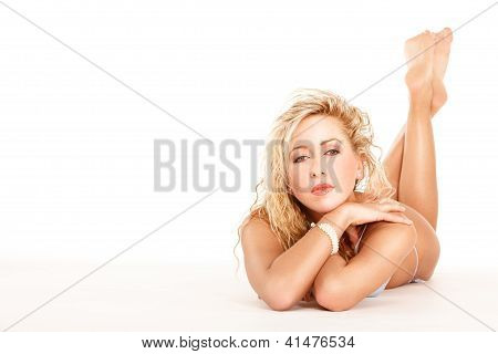 Lying Woman In Lingerie