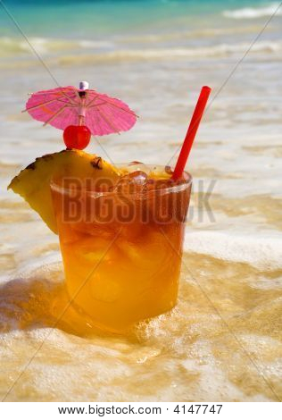 Tropical Maitai Cocktail At The Beach