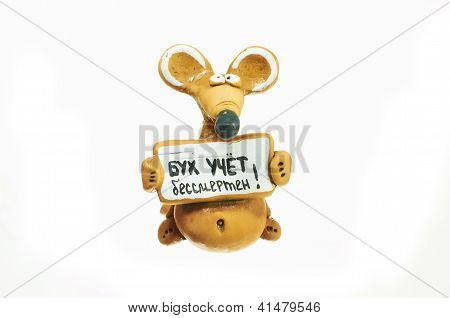 Children's Toy. Clay Rat. The Inscription: Accounting Is Immort