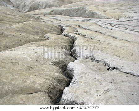 Mud volcanoes wide landscape - strange geological phenomenon
