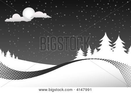 Wintry Pine Tree Background