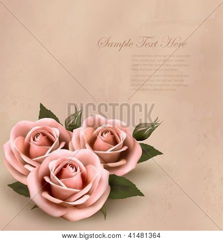 Retro background with beautiful pink roses with buds. Vector illustration.