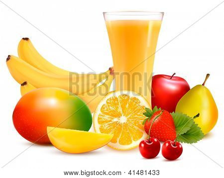 Fresh color fruit and juice. Vector illustration