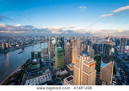 view from the Oriental Pearl TV Tower.shanghai lujiazui financial center aside the huangpu river.