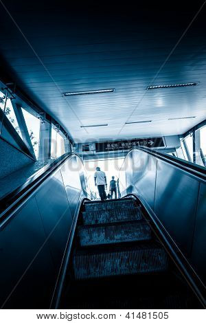 the escalator  of the subway station in shanghai china.