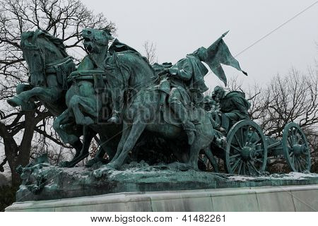 Washington DC - Civil War Memorial Statue in front o the US Capitol Building in winter