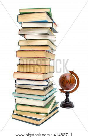 Books And Old Globe Isolated On White Background