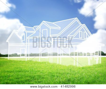 house vision on green meadow Conceptual image