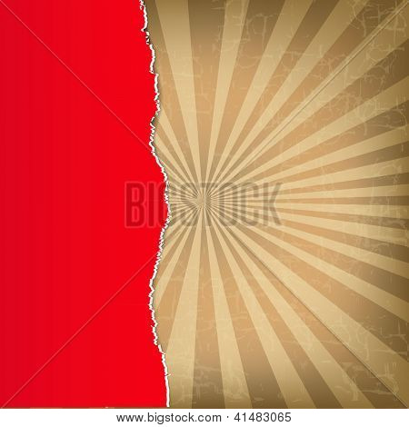 Red Torn Paper With Sunburst Background With Gradient Mesh, Vector Illustration