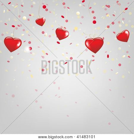 Happy Valentines Day Card With Red Hearts With Gradient Mesh, Vector Illustration