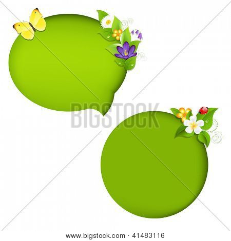 Eco Nature Speech Bubble With Gradient Mesh, Isolated On White Background, Vector Illustration