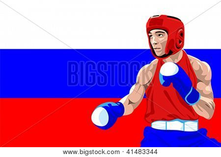 Amateur boxer in protective uniform posing over Russia flag