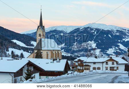 Mountain Winter Kartitsch Village And Sunrise (austria).