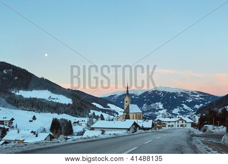Mountain Winter Kartitsch Village And Sunrise (austria).