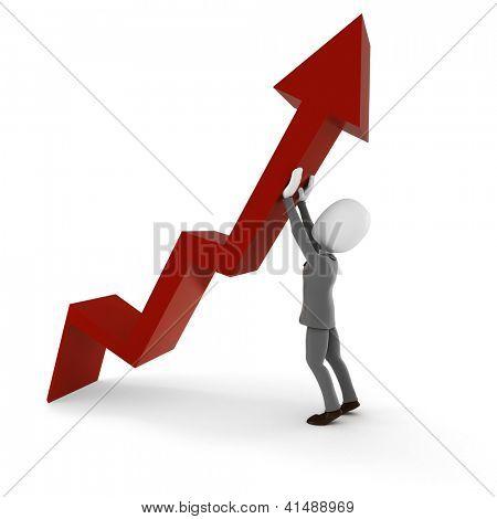 3d man business pushing  up a business arrow