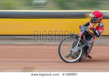 EGGENDORF, AUSTRIA - OCTOBER  7 Johannes Fiala (#1 Austria) competes in the 1st heat of the Austrian speedway championship on October 7, 2012 in Eggendorf, Austria.
