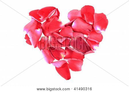 heart shape of red rose petals