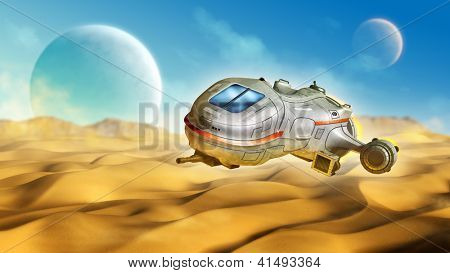 Spaceship traveling on a desert planet. Digital illustration.