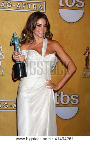 LOS ANGELES - JAN 27:  Sofia Vergara pose in the press room at the 2013 Screen Actor's Guild Awards at the Shrine Auditorium on January 27, 2013 in Los Angeles, CA