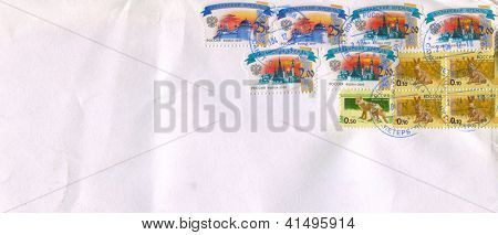 RUSSIA - CIRCA 2009: Mailing envelope with postage stamps dedicated to: The Ryazan  Krom (or Ryazan Kremlin); The Kazan  Krom (or Kazan Kremlin); Rat; Wolf, circa 2009.