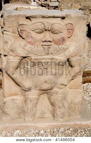 Ancient Egyptian god Bes at Dendera, Egypt