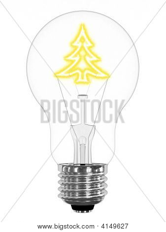 Lightbulb With Sparkling Christmas Tree Inside