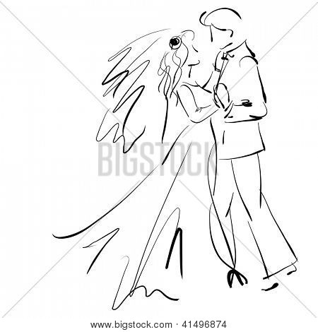 art sketching beautiful young  bride and groom in dance on white background. Vector version is also in my gallery.