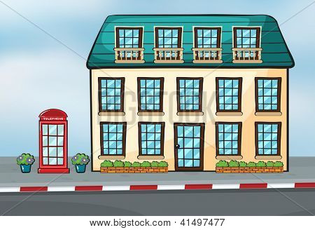 Illustration of a house and a callbox near a street