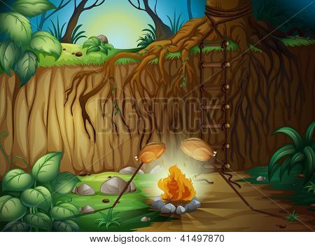 Illustration of a camp fire in the jungle