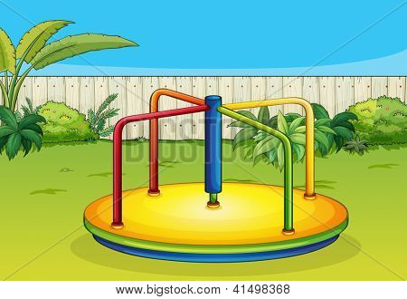 Illustration of a merry-go-round playing equipment in a beautiful nature