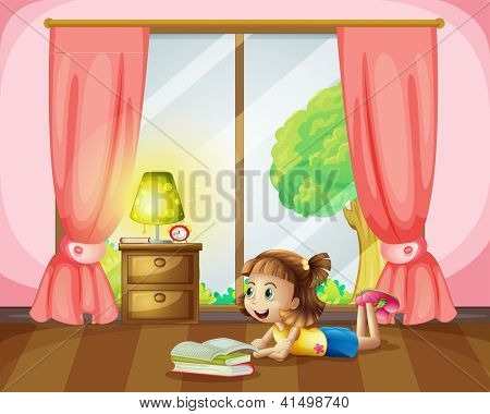 Illustration of a girl reading a book in her room