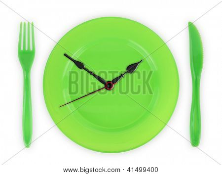 Meal time. Green clock-plate on white