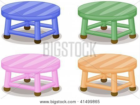 Illustration of four colored stools on white