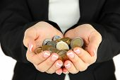 stock photo of prosperity sign  - Woman hands with coins isolated on white - JPG