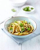 picture of pesto sauce  - Bowl of penne pasta with basil pesto - JPG