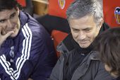 VALENCIA - JANUARY 23: Center Jose Mourinho during Spanish King�?�?�?�´s Cup match between Vale