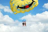 foto of parasailing  - two young girls parasailing over adriatic watres in Croatia - JPG