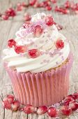 Cupcake With Pomegranate And Pink Sprinkle