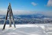 picture of sakhalin  - Triangulation station on hill town view Yuzhno - JPG